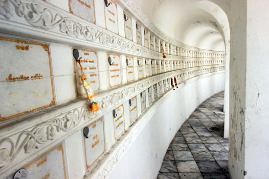 Vaults at Wat Prayoon's Chedi hold the ashes of deceased