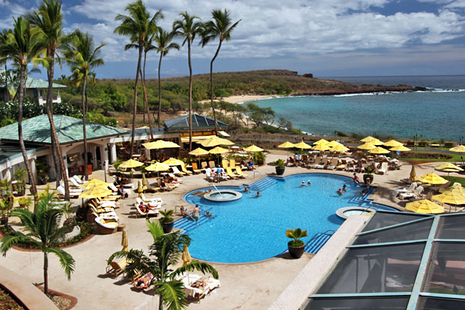 Pool, restaurants, and beach at Four Seasons Resorts Lana'i - Manele Bay