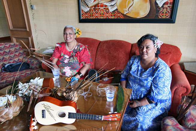 Aunty Irene and Aunty Sandra (left to right) display the most important accoutrements of Hawaiian culture