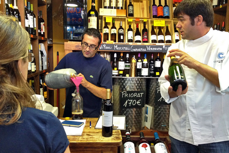 Chef Xavier Arrey Selects the Perfect Wine for Preparing our Meal in Girona, Spain