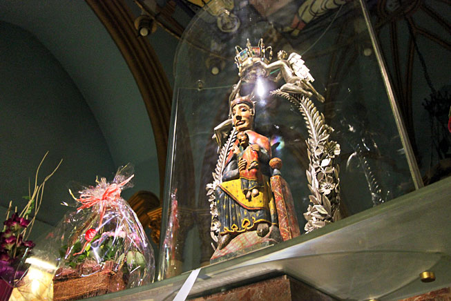 The Virgin of Núria, believed to have been crafted by Saint Giles, who hid it in a cave in the valley in 700 AD