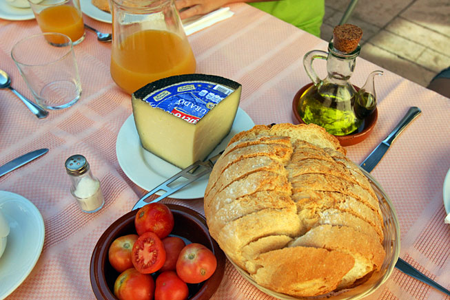 Typical breakfast of fresh bread rubbed with tomatoes, drizzled in olive oil, and accompanied by cheese in Catalonia, Spain