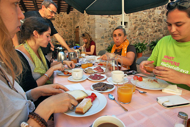 Traditional Catalonian beakfast at 700 year-old Can Dionis farm in northeast Spain