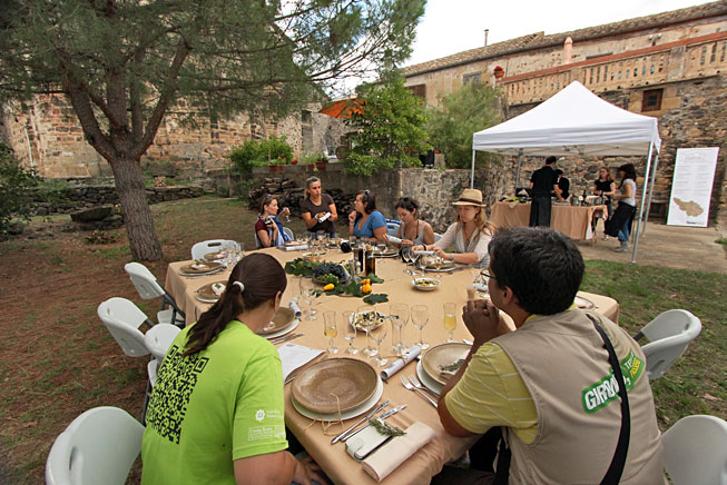 Coal Gastonomy Association Remença Meal in interior courtyard of Sant Vicenç Church, where we were treated to feast featuring the traditional cuisine of Catalonia