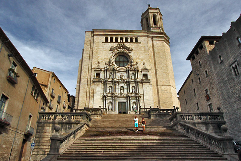 Beautiful Statues on the Facade of the Cathedral of Santa Maria in Girona, Spain