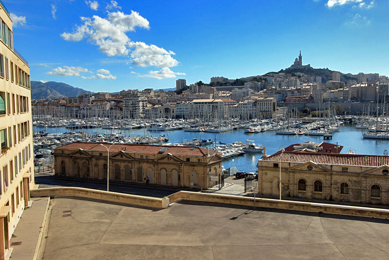 View Over Vieux Port Harbor from the Highest hill in Marseille, France