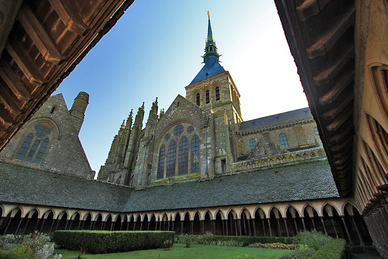 Cathedral Spires Soar Over the Interior Courtyard of of Mont St. Michel, France