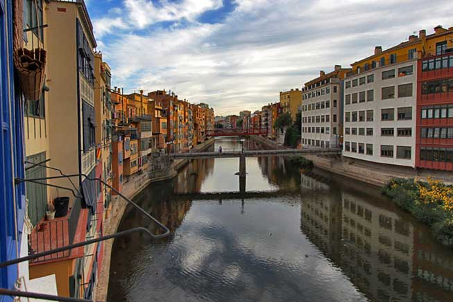 Colorful old houses along the River Onyar in Girona, Spain