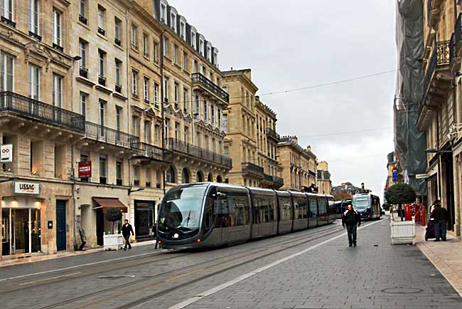 Trolley in Bordeaux, France, is an example of how getting around France is easy