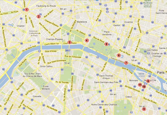 One Travelers Route For A Walking Tour Of Paris By Night - Paris map quarters