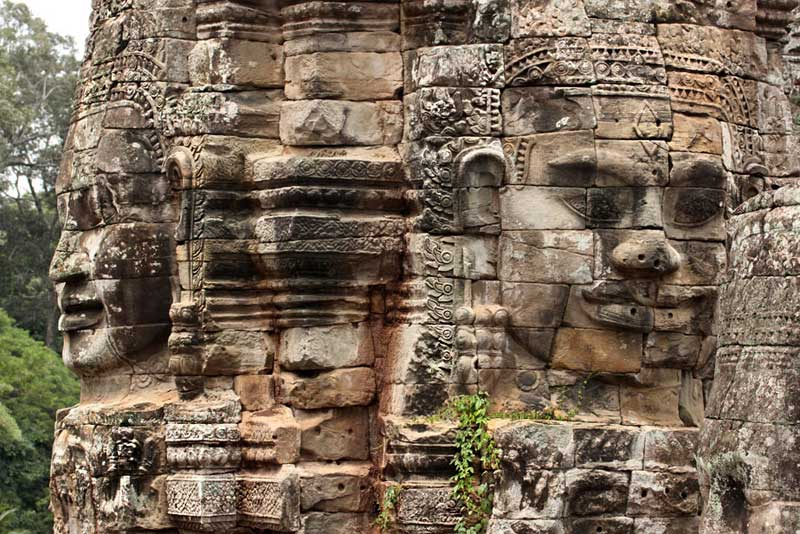 Giant Carved Heads at Bayon Temple in Angkor Wat, Cambodia Were Positioned So as to be Visible From Every Door and Window in the City