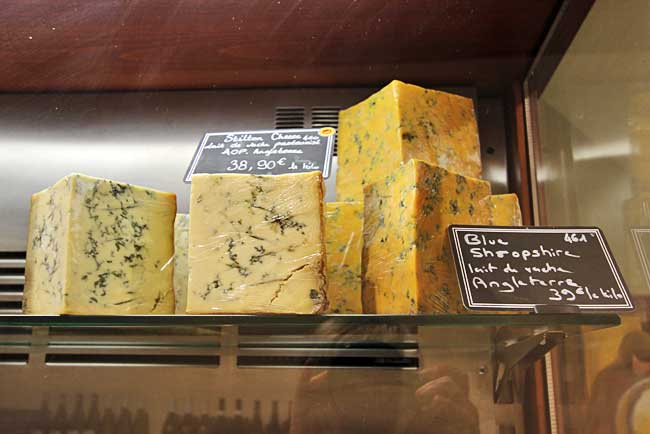 Some of the many varieties of Blus cheese sold at Fromagerie Deruelle