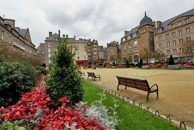 Beautiful square in the Intra-Muros old walled city of St. Malo France