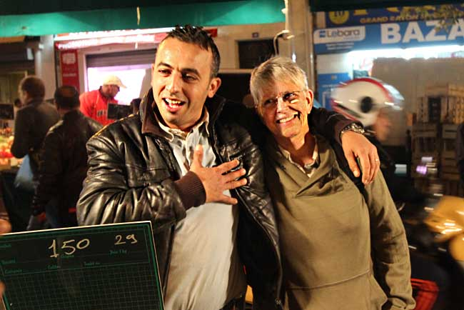 This food stall owner at the night market in Marseille was an instant new friend when he learned I was from the USA