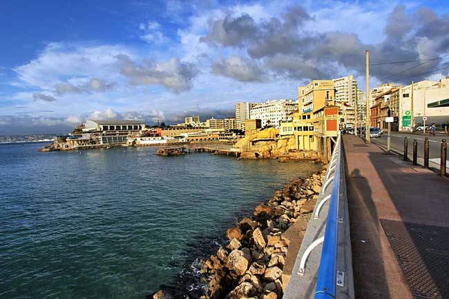Walking along the Corniche, the road leading from the Vieux Port to the Bay of Marseille