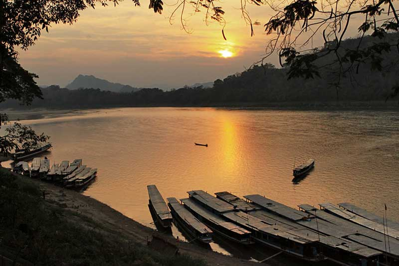 In Luang Prabang, Laos, Boats on the Mekong River are Tied Up for the Night