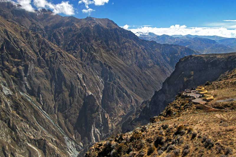 Rugged Mountains and Deep Valleys of Colca Cayon are Home to Giant Condors