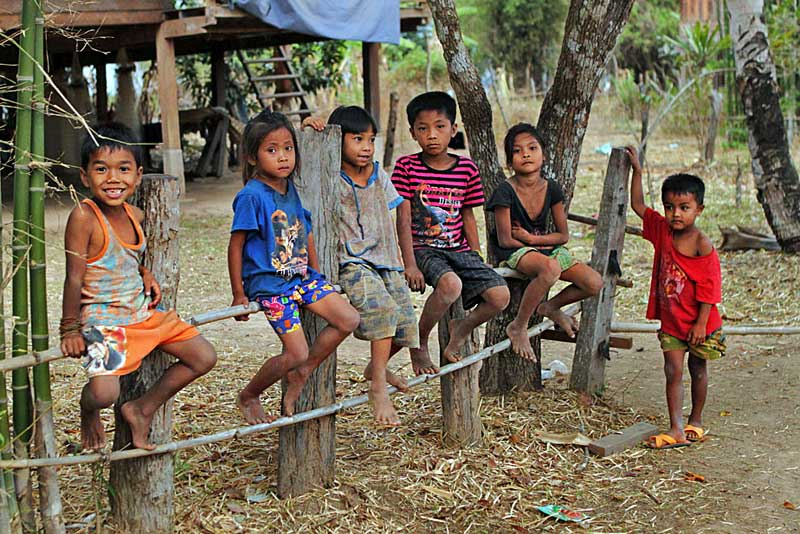 Kids From the Tiny Village of Duatai Along the Southern Mekong River in Laos