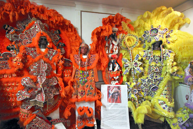 Big Chief and Queen costumes at the Backstreet Cultural Museum in New Orleans, Louisiana