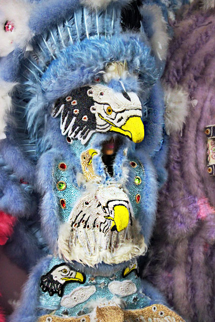 Downtown Indians design costumes with 3D effects, like this one with an eagle's beak