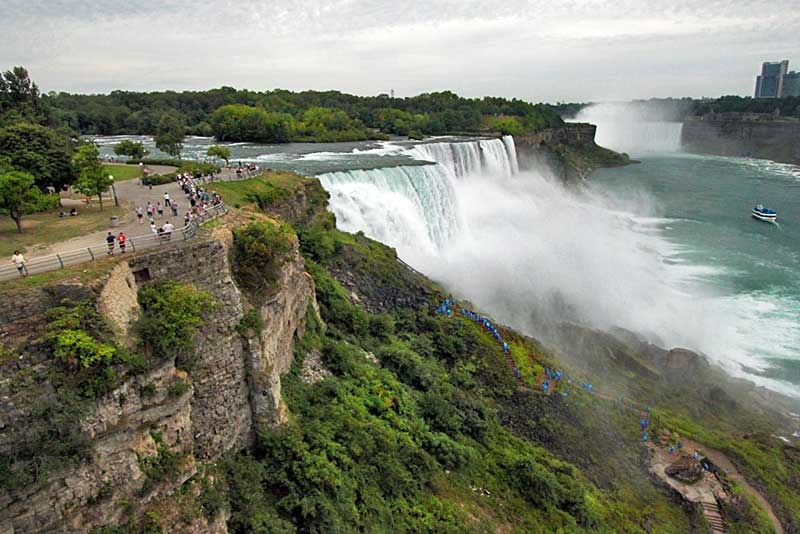 Visitors in Raincoats Hiking to the Bottom of the American Niagara Falls Look Like a Trail of Blue Ants