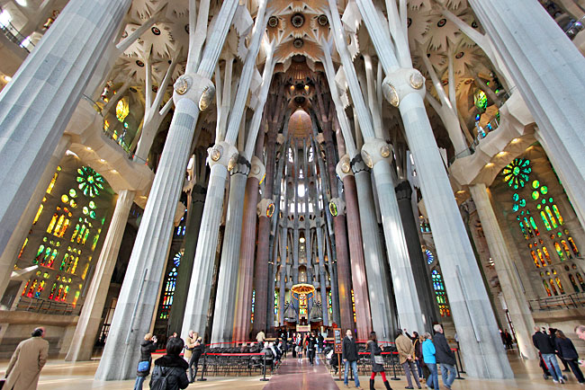 View from the center of Sagrada Familia's  Latin Cross floor plan, looking toward the apse