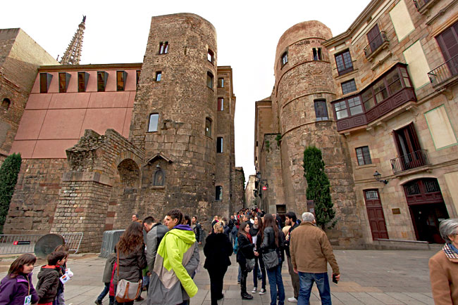 Largest remaining portion of the old Roman wall around Barcelona's Gothic Quarter, with two original watchtowers and a reconstructed aqueduct