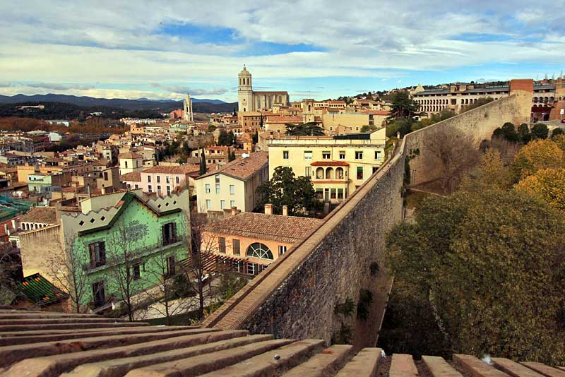 View Of Girona, Spain, from Atop the Old Roman City Wall