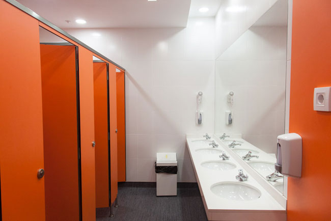 Shared showers/toilets for the dormsat St Christopher's Inns hostel in Barcelona