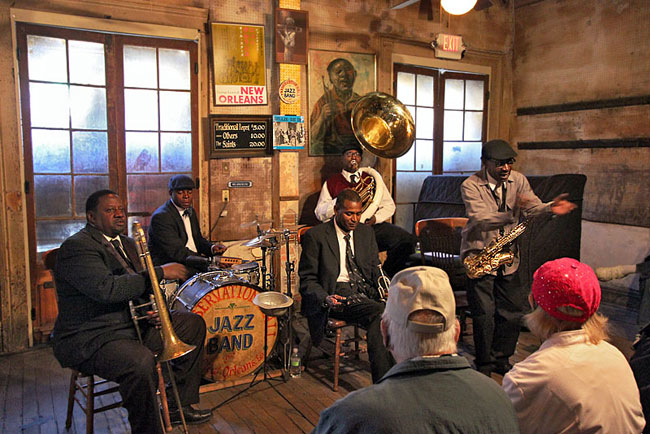 Jazz performance by Tornado Brass Band at New Orleans' famous Preservation Hall