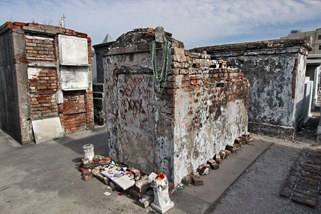 Tomb of Voodoo Queen Marie Leveau in St. Louis Cemetery #1 in New Orleans