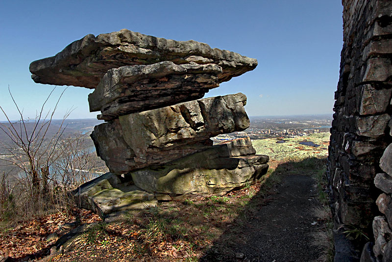 Balanced Rocks in Point Park, High Above Chattanooga and the Tennessee River