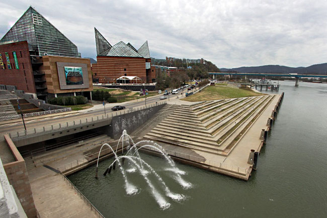 Chattanooga's Riverfront, with Tennessee Aquarium and seven fountains at the base of The Passage, America's largest public art project celebrating Cherokee history and commemorating the Trail of Tears