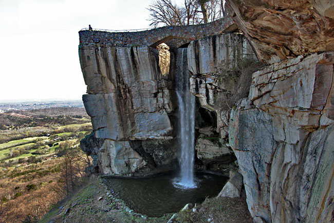 Lover's Leap, a monolithic rock outcropping at Rock City Gardens, offers views to seven States