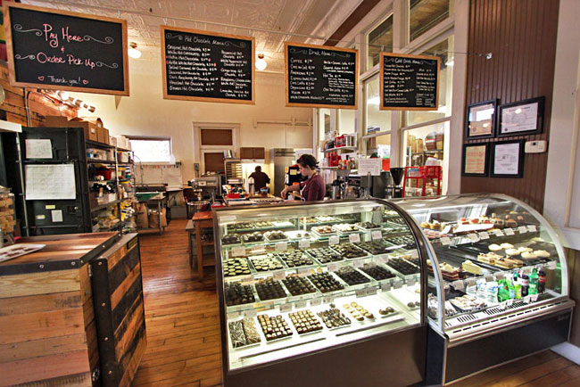 The Hot Chcolatier, in Chattanooga's Southside neighborhood, makes gourmet pastries, desserts, and chocolates
