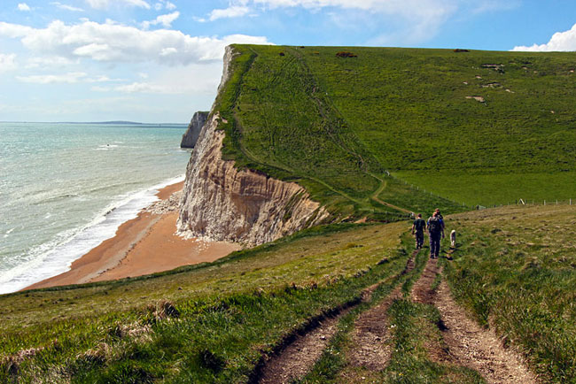 White chalk cliffs along England's south Dover coast
