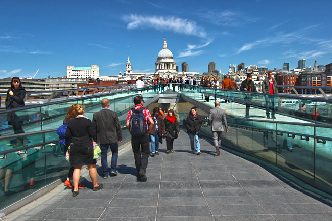 When sightseeing in London, a walk over the River Thames on the Millennium Bridge, bound for St. Paul's Cathedral, is a must