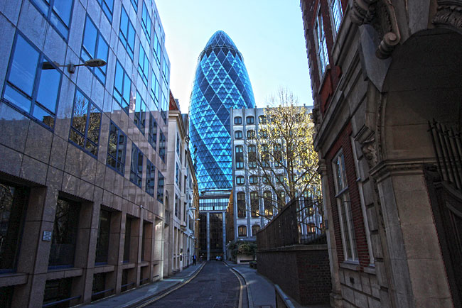 """St. Mary's Axe, one of London's modern skyscrapers, is affectionately known by its nickname """"the Gherkin"""" and is one of the buildings most popular for sightseeing in London"""