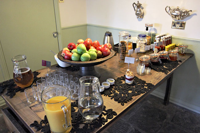 Breakfast buffet at Brooks B&B, before the full meal of eggs and meat are served