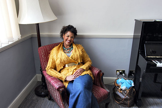 Soprano opera singer Measha Brueggergosman relaxes after a concert at the International Music Festival in Bath, England