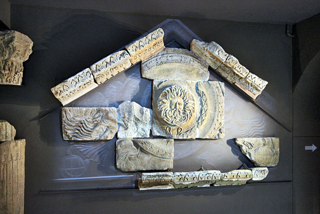 All that remains of the pediment of the great temple that once stood at the Roman Baths