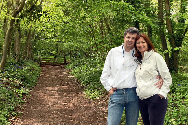 Heather Cowper and her husband, Guy, during a walk in Priors Wood Nature Reserve, where we enjoyed the annual riotous blooming of bluebells