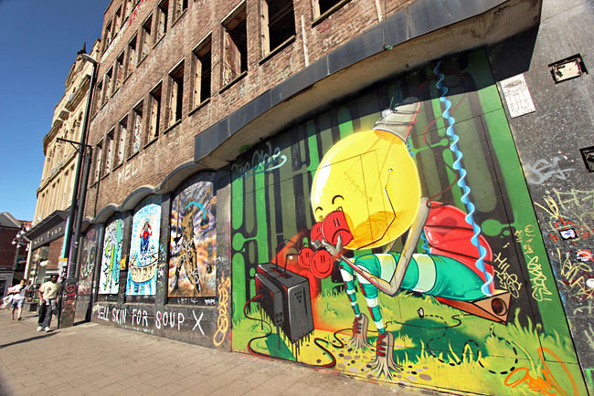 Cartoon art is big; this one is found in the Stokes Croft neighborhood