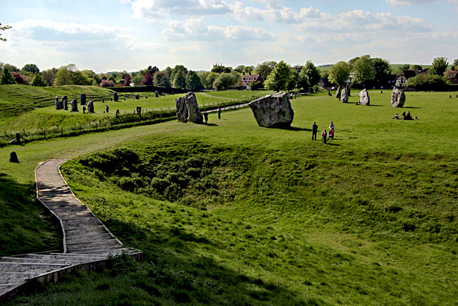 Standing stone circles at Avebury in Wiltshire, England