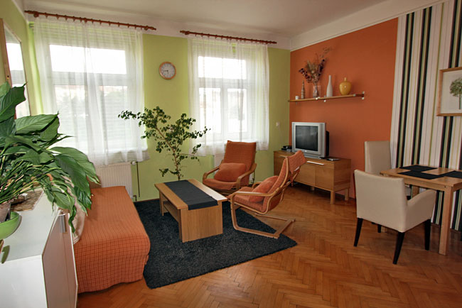 Living room in my GowithOh holiday rental apartment in Prague