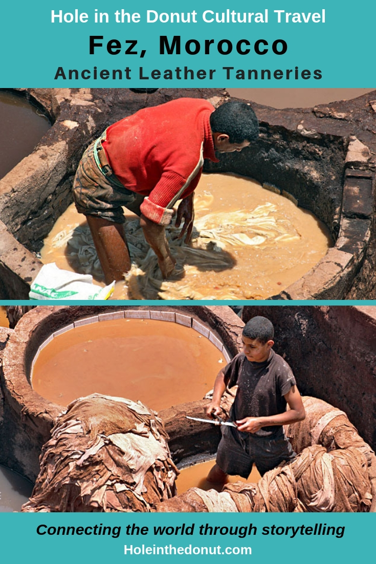 The leather tanning process in the tanning pits of Fez, Morocco has remained the same since they were built in the 11th century