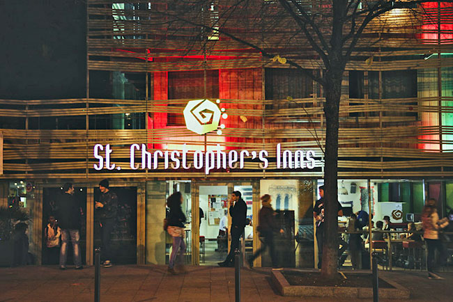 Exterior of the hostel by night. Photo courtesy of St. Christopher's Inns Canal, Paris