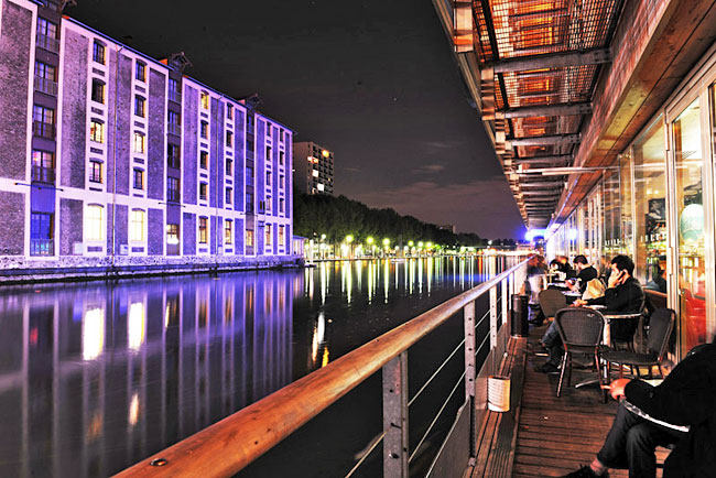 Canalside after dark. Photo courtesy of St. Christopher's Inns Canal in Paris
