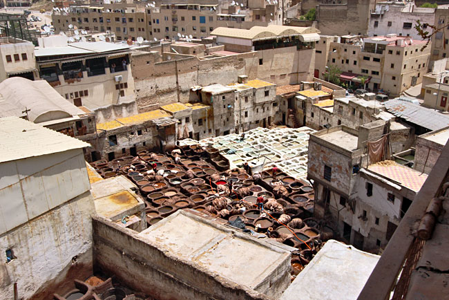 The largest tannery in Fez, Morocco, seen from one of three surrounding terraces where finished leather goods are sold