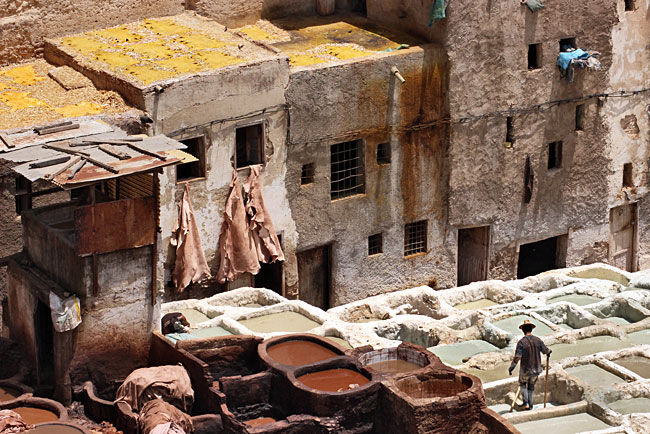 Tanned camel hides hag from windows to dry, while yellow skins hand-rubbed with an expensive oil and saffron mixture are laid out on rooftops to dry